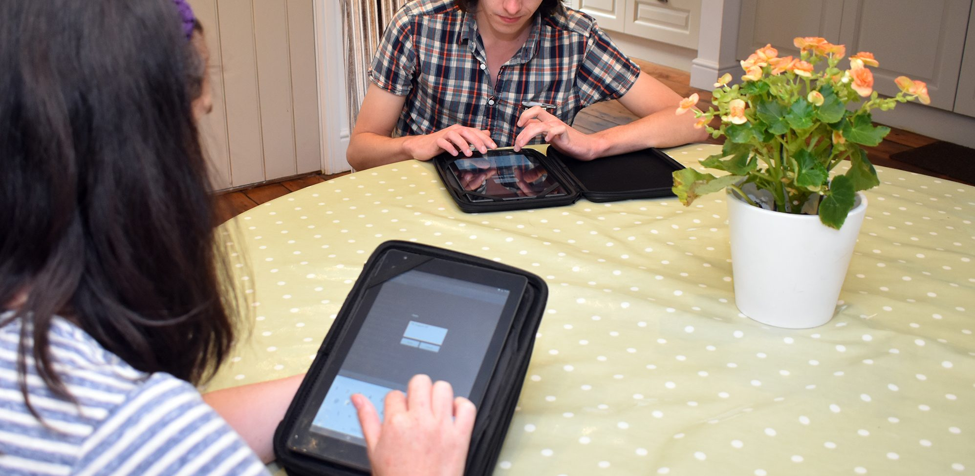 supported living carers using easylog software on tablet PCs